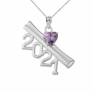 White Gold 2021 Graduation Birsthstone Necklace